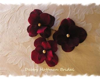 Deep Ruby Red Flower Bobby Pins, Burgundy Wedding Flower Hair Pins, Set of 3 No. 303B, Red Hair Flowers, Bridesmaid, Flower Girl Flowers