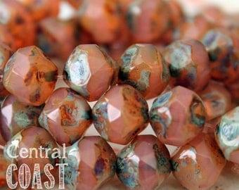 Pink Opal - Czech Glass Picasso Center Cut Baroque Bead  9mm - 15 beads