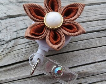 Kanzashi Flower I.D. Badge Holder with Alligator or Slide Metal Clip
