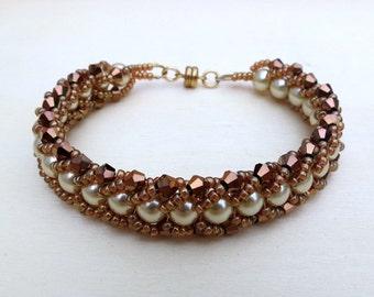 Flat Spiral Handwoven Beaded Bracelet