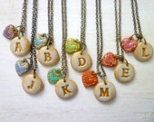 Letter and Heart Necklace - Pick your COLOR - Rainbow - Christmas gift