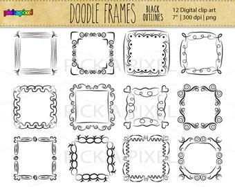 square doodle fun frames black outline clip art personal and commercial use