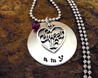 Personalized Jewelry, Birthday Necklace, Sweet 16 Birthday Necklace, Personalized Necklace, Birthstone Jewelry