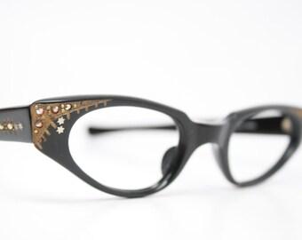 Rhinestone Cat Eye Glasses Vintage Cateye Frames 1950s Eyeglasses
