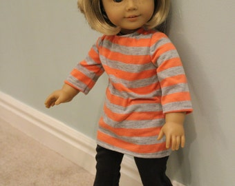 Orange and Grey Tunic for an American Girl Doll or other 18 jnch doll