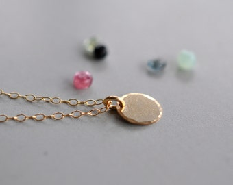 14K Gold Filled Tiny Disc Tag Necklace, Personalized, Letter Stamped, Birthstone