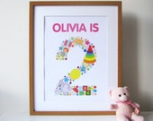 A3 Personalised Childs Birthday Print - Personalized Childs Birthday Print - Kids Birthday - Child Birthday