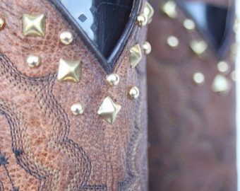 "Beautiful ""One of a Kind"" Dan Post Studded oiled leather ladies cowboy boots 10 M"