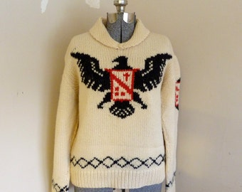 Vintage 1960's Cowichan Sweater German Style Black Eagle Pullover Cowichan