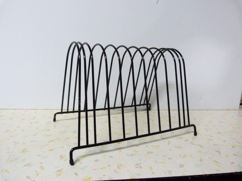 vintage black record holder record vinyl rack record holder. Black Bedroom Furniture Sets. Home Design Ideas