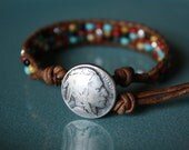 Oklahoma Bracelet, Southwest motif Bracelet with Silver plated square beading, Buffalo Button Bracelet, Indian Button Bracelet