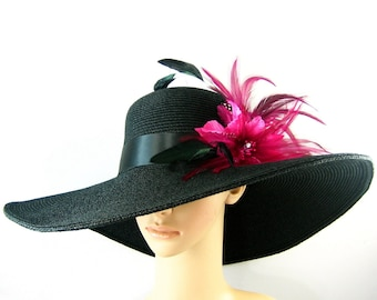 Black Kentucky Derby Hat with Pink feathers, Fascinator, Derby Hat, Church Hat, Dressy Hat ,Formal Hat, Wedding Hat,Special Occasion