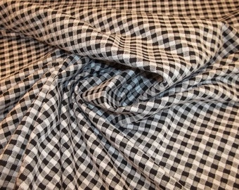 Fun Black and White Check Reversible 4-Way Stretch Fabric