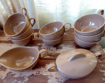 Melamine COFFEE SET Melmac Sugar and Creamer with 8 Cups cocoa brown vintage 1950s 1960s