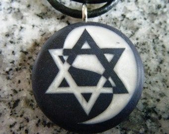 Star of David Yin Yang hand carved on a polymer clay Midnight blue pearl color background. Pendant comes with a FREE 3mm necklace