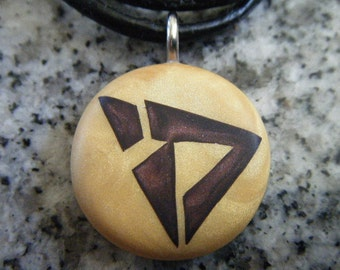 Modern Chai-Life hand carved on a polymer clay Light Gold color background. Pendant comes with a FREE necklace