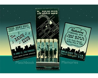 Jazz Music Wall Decor- The Dawn Club -1930s - 1940's matchbook - matted PRINT, Musical Home Decor - Great Gift for Jazz Lover-