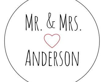 "100 custom wedding stickers, ""mr. and mrs.,"" simple wedding stickers, personalized wedding stickers, 2 inch round"
