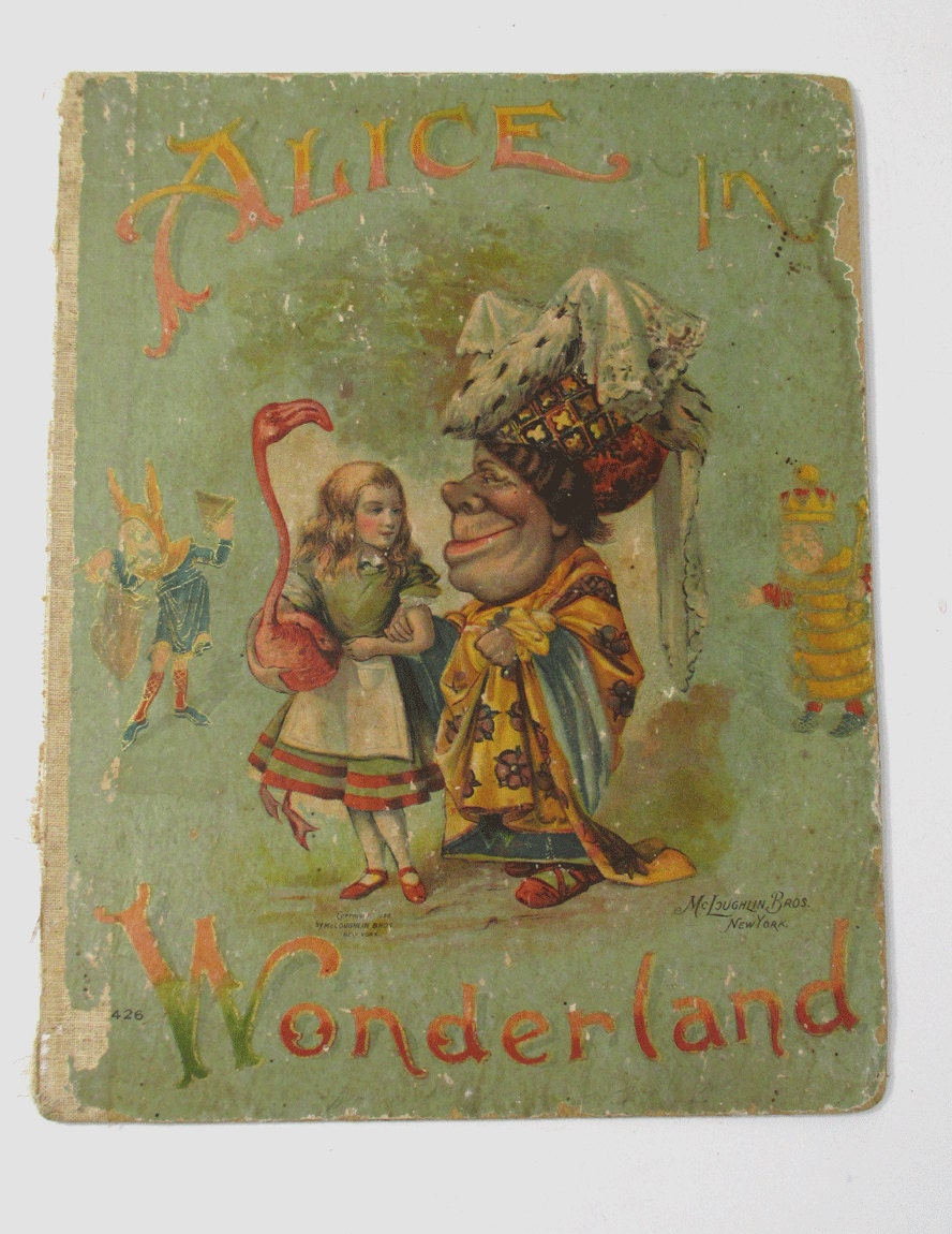 Alice In Wonderland Classic Book Cover ~ Antique alice in wonderland book cover lithograph for