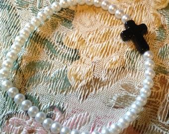 Pearl Bracelet with Black Cross