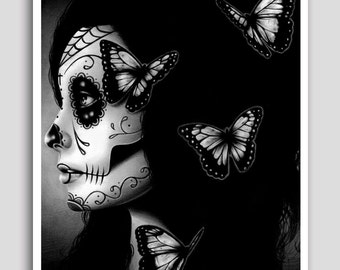 Day of the Dead Poster Sugar Skull Girl Butterfly Tattoo Art Wall Art Flutter By 18x24 inch Signed Art Print Dia De Los Muertos