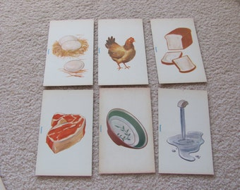 Vintage Spanish Flash Card - Water - Bread - Meat - Chicken - Dish - Eggs