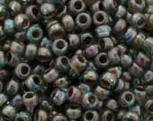 Seed Beads-11/0 Round-4506 Transparent Olivine Picasso-Miyuki-16 Grams