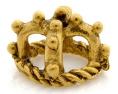 Casting-5.5mm King Crown Pewter-Bead Caps-Antique Gold-Quantity 2