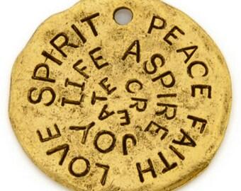 Casting-23mm Pewter-Love Spirit Peace Disc-Antique Gold-Quantity 1