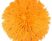 African Juju Hat - Orange Yellow Feathers