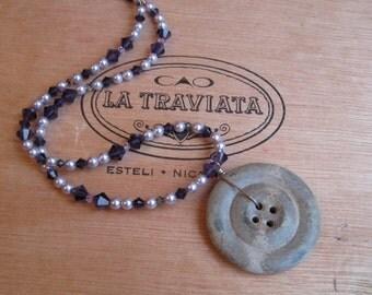 Faux Stone Button Necklace with Vintage Button