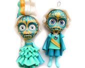 SALE - Marie Antoinette and Companion - Sugar Skulls - Turquoise and Gold - Miniature Sculptures - Doll Ornaments