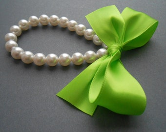 Pearl Bracelet Shabby Chic Weddings White Pearls With Lime Green Satin Ribbon Bracelet