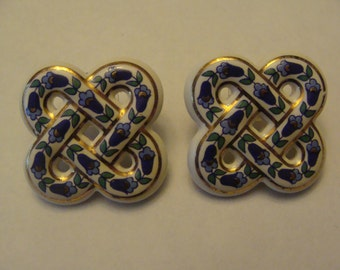 Celtic Knot Ceramic Pierced Earrings - Blue and Green Floral with Gold - Vintage Costume Jewelry Earrings