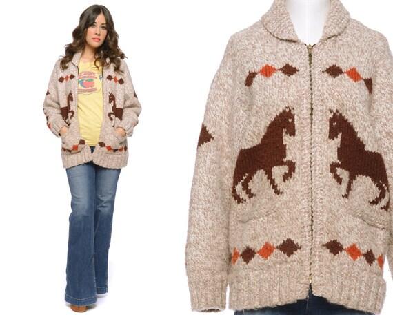 Cowichan Cardigan Horses Sweater 70s Boho Fair Isle Brown