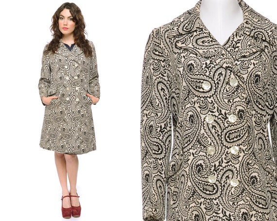 Embroidered Coat Black Cream Paisley Tapestry 60s Trench 1960s Mod Notched Collar B&W / Size M L Medium Large
