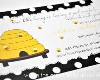 Bee Invitations beebirthday invitationsbee party