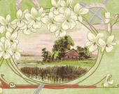 Silver Cross White Spring Flowers and Country Side Scene on Vintage P Sander Postcard 1911