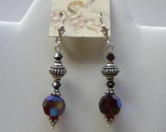 Garnet Crystal Earrings Sterling Silver Dangle Swarovski Earrings Victorian Mourning