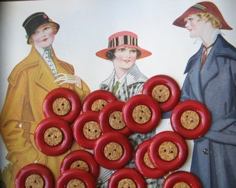Vintage Red Celluloid and Cork Buttons...new old stock...circa 1930s...lot of 20...unusual