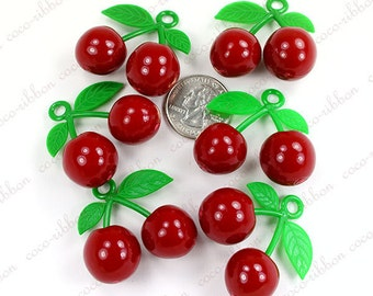 39mm 6pc Large Red Sweet Cherry Acrylic Pendant Charm C08