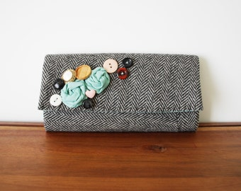 Upcycled Black and Grey Herringbone Wool Trifold Clutch Wallet with Rosettes and Buttons