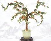 Antique Chinese jade and rose quartz tree