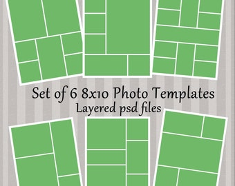 8x10 Photo Template Collage Story Board Layered PSD Files Set of 6 photography templates - Instant Download No 7to12