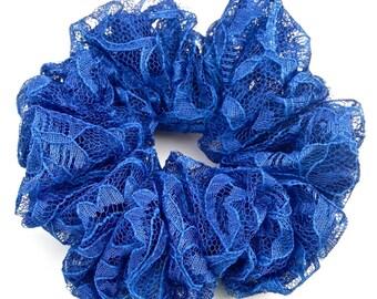 Royal Blue Lace Scrunchie