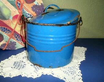 Old Shabby Rusty Blue Bucket, Antique Enamelware Pan, Metal Handle and Lid