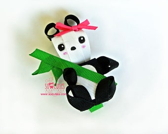 Panda girl ribbon sculpture hair clip / girl hair clip / baby hair clip ..