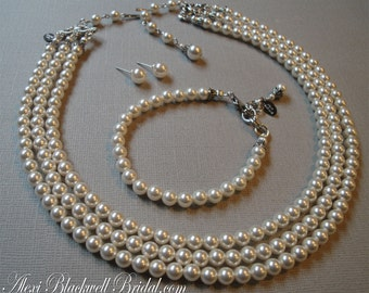 Complete Wedding Jewelry Set Necklace Bracelet and Earrings 3 multi strands Swarovski pearls a simple classic style Ivory White Silver Gold