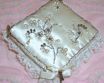 ANTIQUE Satin, Lace & Ribbon Pin Art Flowers Pin Cushion...SALE