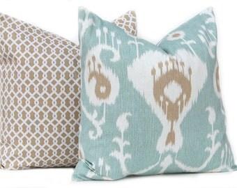 Decorative Pillow Covers - Seafoam Pillow Cover - Two Pillow Covers - Ikat Pillow Cover and Chainlink Pillow Cover - Tan Pillow Cover